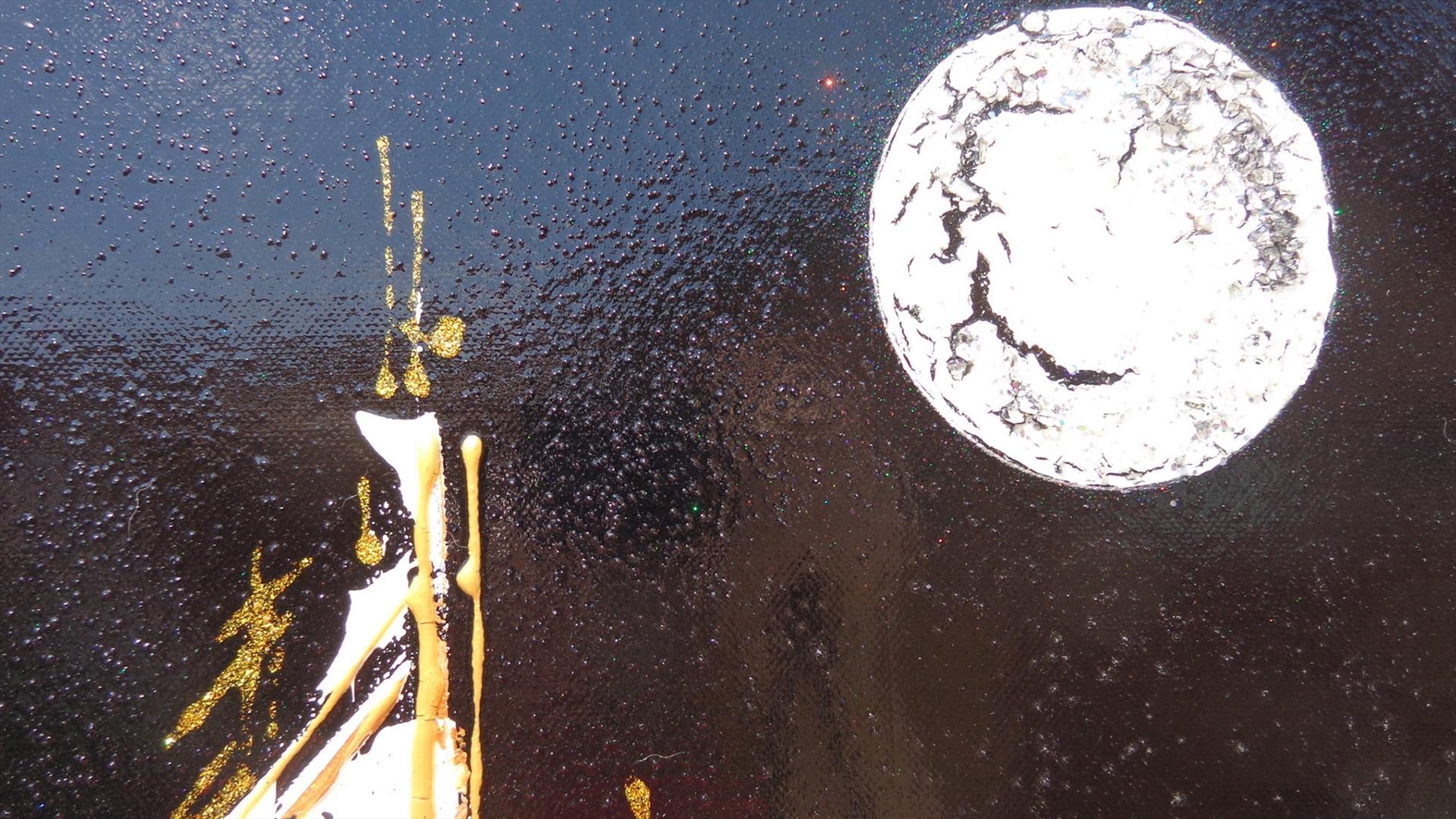 Citt con luna in verticale vendita quadri online for Quadri astratti dipinti a mano